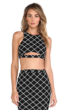 Nookie Bowie Check Crop Top in Black