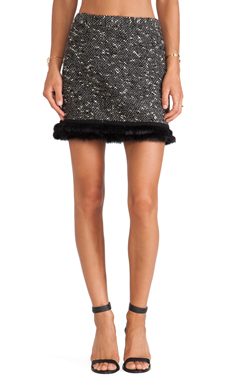 Nanette Lepore Undercover Skirt with Rabbit Fur Trim in Black & Ivory