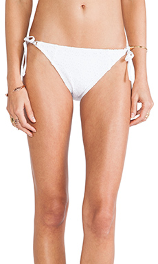 Nanette Lepore Ooh La La Eyelet Vamp String Bikini Bottoms in White