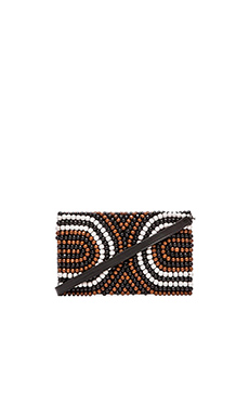 Nanette Lepore Wooden Beaded Clutch in Natural