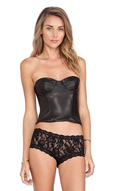 NOE Undergarments Ryan Leather Zip-Back Corset in Black