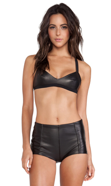 NOE Undergarments Edward Soft Leather Bra in Black