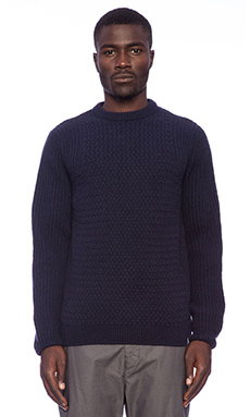 Norse Projects Kirk Cable Knit Sweater in Dark Navy
