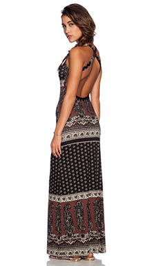 NOVELLA ROYALE Midnight Rambler Maxi Dress in Black Daisy Paisley