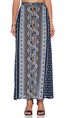 NOVELLA ROYALE Dark Light Maxi Skirt in Navy Daisy Paisley