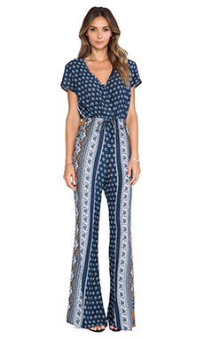 NOVELLA ROYALE Fly Jumpsuit in Navy Daisy Paisley