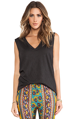 NOVELLA ROYALE Muse Deep V Cotton Tank in Black
