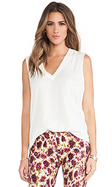 NOVELLA ROYALE Muse Deep V Cotton Tank in White