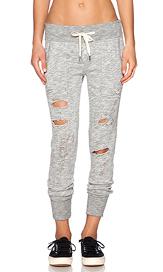 NSF Rue Destroy Sweatpant in Vintage Heather Destroy
