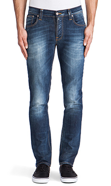 Nudie Jeans Grim Tim in Organic White Knee