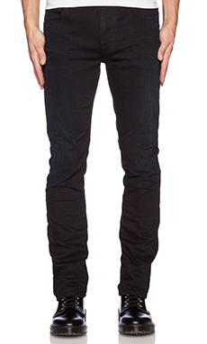 Nudie Jeans Thin Finn in Org Black Nouveau