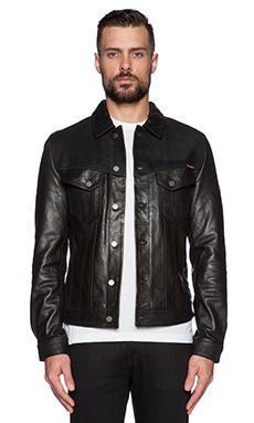 Nudie Jeans Perry Leather & Crust Jacket in Black