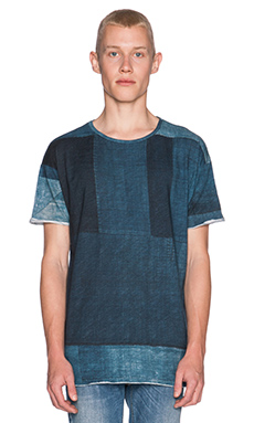 Nudie Jeans Raw Hem T-Shirt Org. Boro in Blue