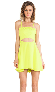 Naven Skater Mini Dress in Chartreuse
