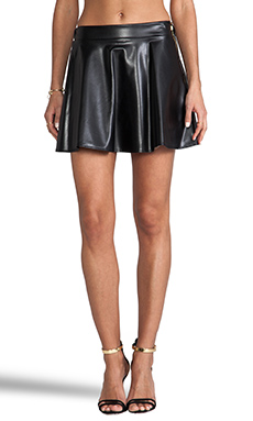 Naven Biker Skirt in Black Faux Leather