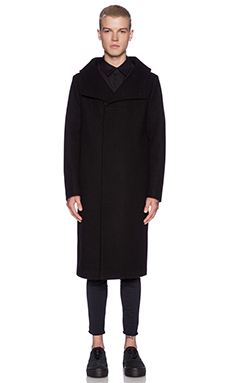 OAK Funnel Neck Coat in Black
