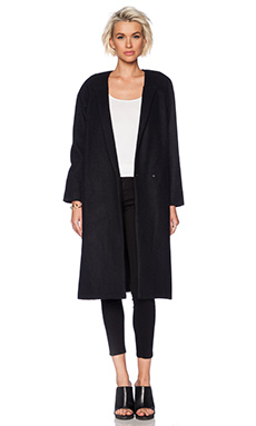 OAK Caught Lapel Overcoat in Black