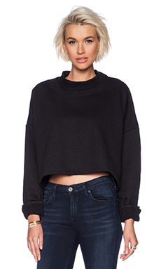 OAK Cropped Crew Neck Sweatshirt in Black