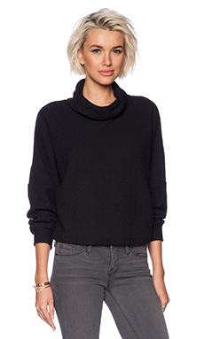 OAK Drop Shoulder Turtleneck Sweatshirt in Black