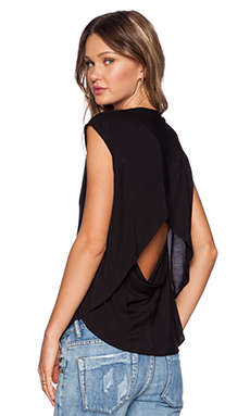 OAK Crossover Drape Back Top in Black