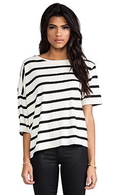 OAK Drop Shoulder Tee in Black & White Stripe
