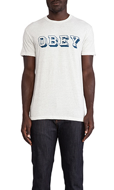 Obey University Tee in Heather Grey
