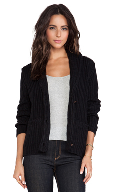 Obey Rune Shawl Sweater Cardigan in Black
