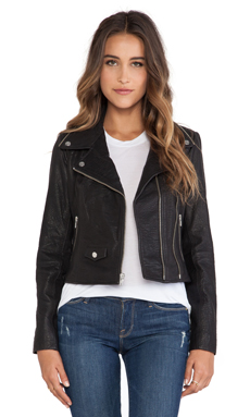 Obey Savages Leather Jacket in Black