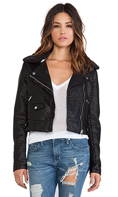 Obey Eddie Vegan Leather Jacket with Faux Fur Trim in Black