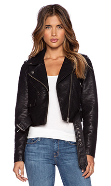Obey City Moto Vegan Leather Jacket in Black