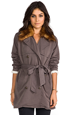 Obey Chelsea Trench Coat with Removable Faux Fur Collar in Army