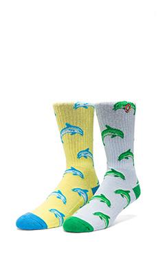 Odd Future Jasper Dolphin HD Socks in Light Blue, Odd Future Jasper Dolphin HD Socks in Yellow