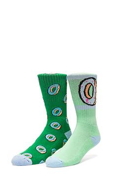 Odd Future Donut Allover Sock in Green, Odd Future OF Donut Sock in Green