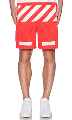 OFF-WHITE Striped Walkshort in Coral Red