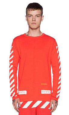 OFF-WHITE White Caps Tee in Coral Red