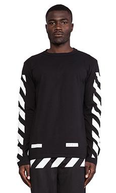OFF-WHITE Stripe Long Sleeve Tee in Black