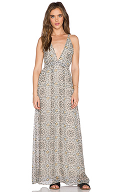 OH MY LOVE Plunge Maxi Dress in Golden Empress