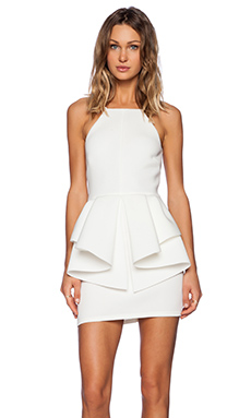 OH MY LOVE Peplum Mini Dress in White