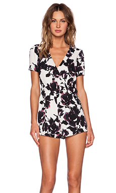 OH MY LOVE Floral Playsuit in Checked Back Floral