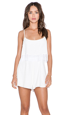 OH MY LOVE Fringe Playsuit in White