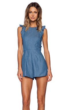 OH MY LOVE Ruffle Playsuit in Denim Spot
