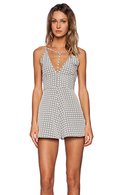 OH MY LOVE Playsuit in Grey Square Check