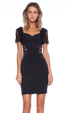 OLCAY GULSEN Half Sleeve Open Lace Dress in Black