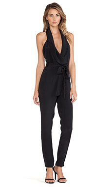OLCAY GULSEN Deep V Jumpsuit in Black