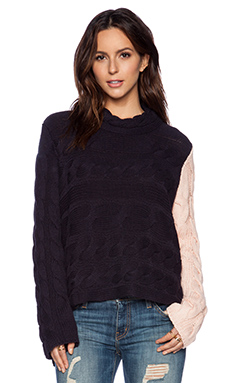One Teaspoon Whiskey Sour Sweater in Navy & Musk