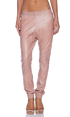 One Teaspoon Leather Trackies in Blush