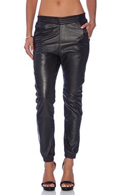 One Teaspoon Leather Super Trackies in Black