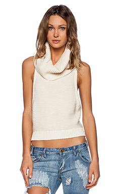 One Teaspoon Parisienne Nights Rollneck Tank in Ivory