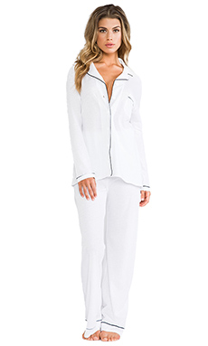 Only Hearts Piped Pajama Set in White/Black