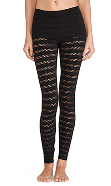 Only Hearts Eyelet Jersey Leggings in Black